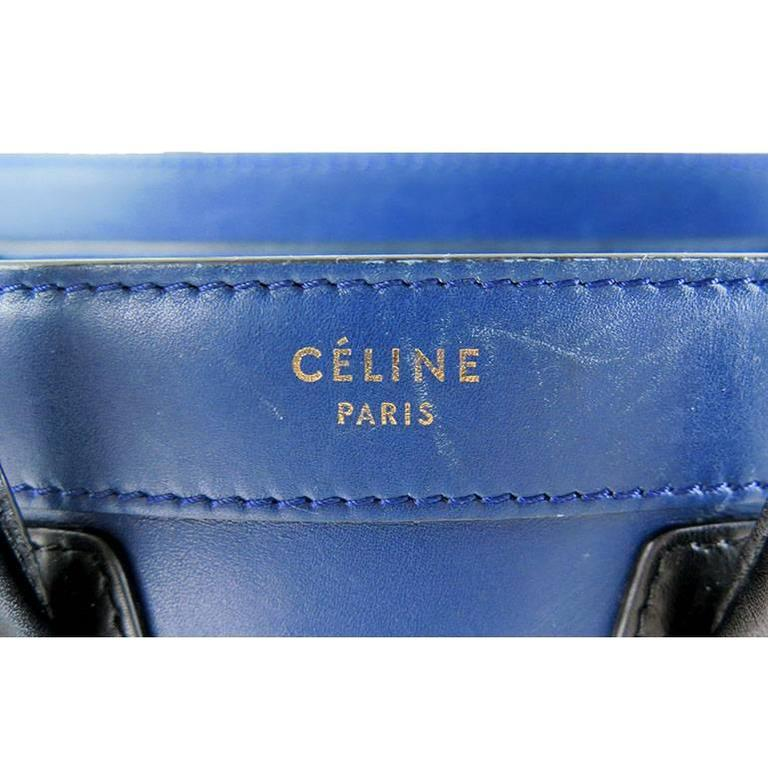 Celine Nano Bicolor Ocean Blue Black Handles Leather Luggage 3
