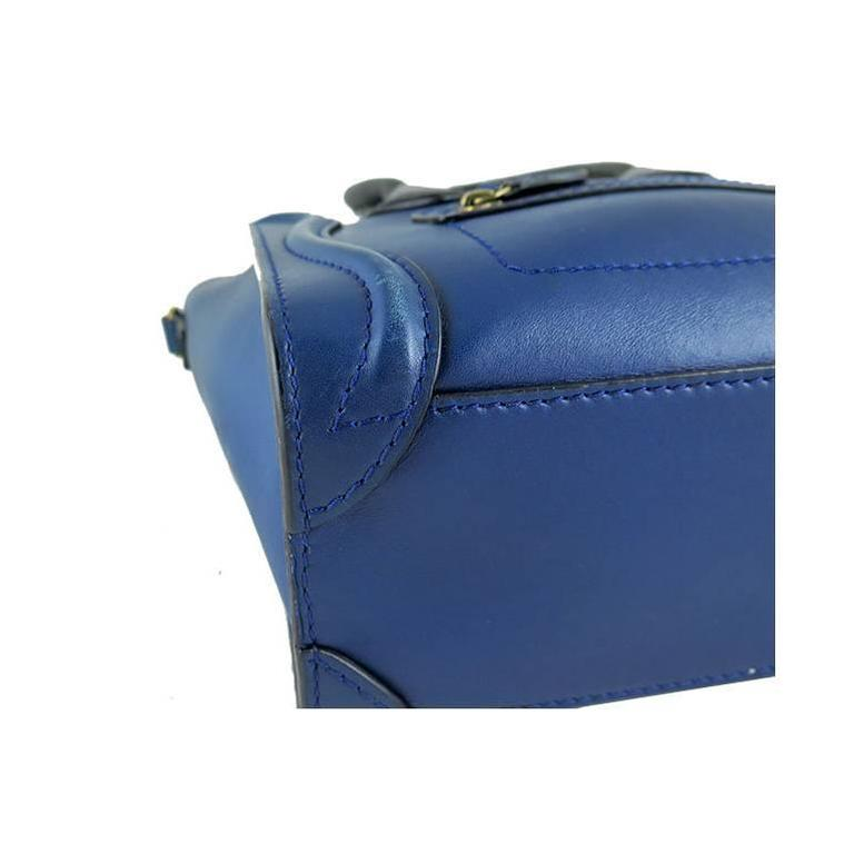 Celine Nano Bicolor Ocean Blue Black Handles Leather Luggage 8