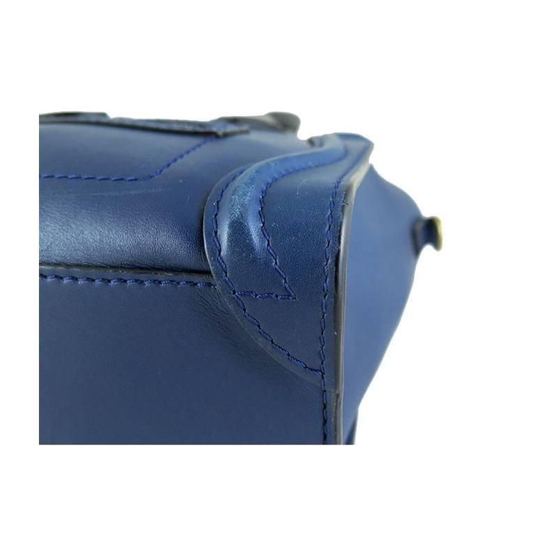 Celine Nano Bicolor Ocean Blue Black Handles Leather Luggage 9