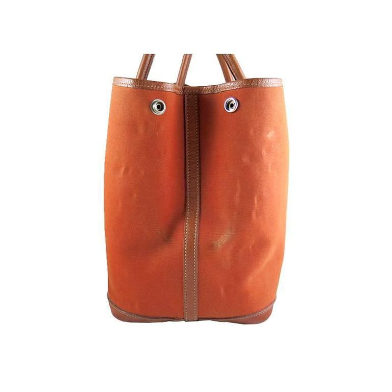 Women's or Men's Hermes Orange Canvas Leather Medium MM Garden Party Shoulder Tote For Sale