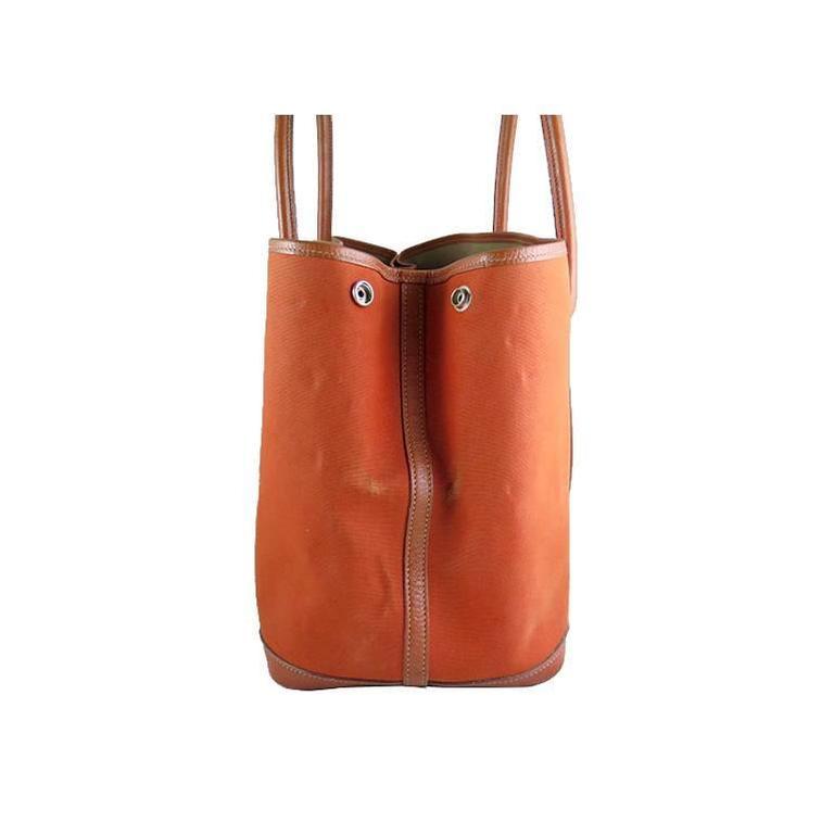 Hermes Orange Canvas Leather Medium MM Garden Party Shoulder Tote For Sale 1