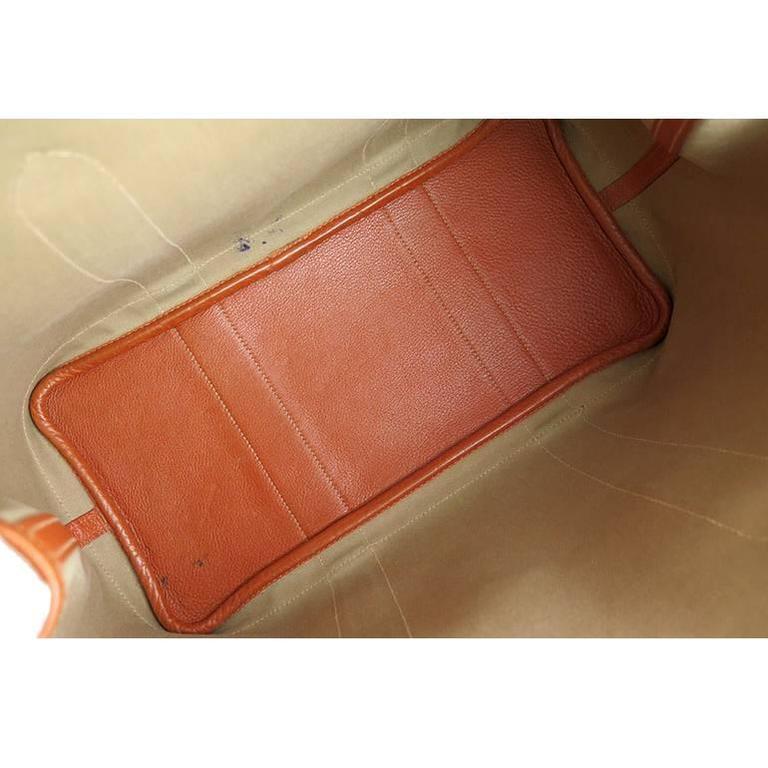 Hermes Orange Canvas Leather Medium MM Garden Party Shoulder Tote For Sale 2