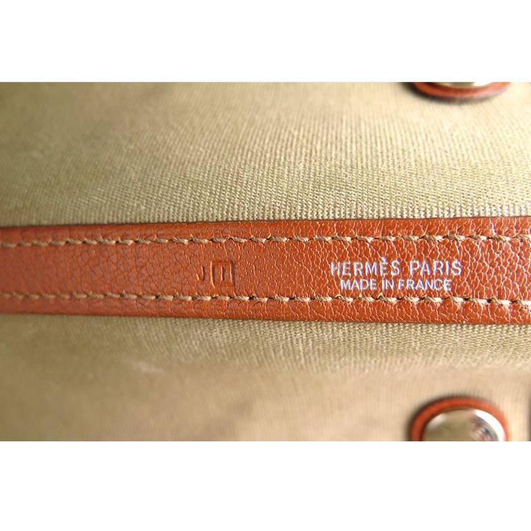 Hermes Orange Canvas Leather Medium MM Garden Party Shoulder Tote For Sale 3