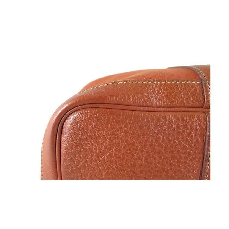 Hermes Orange Canvas Leather Medium MM Garden Party Shoulder Tote For Sale 4