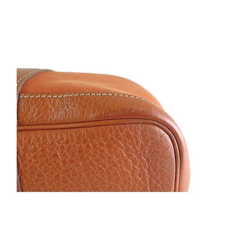 Hermes Orange Canvas Leather Medium MM Garden Party Shoulder Tote For Sale 5