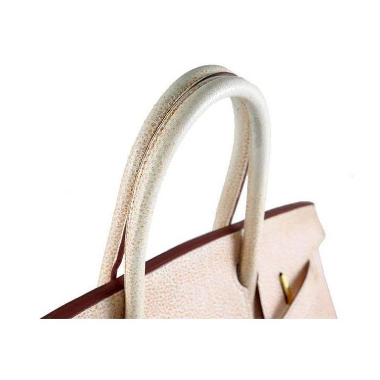 Beige Hermes Birkin 30 Orange Dalmatian Buffalo Leather Gold Hardware Bag  For Sale