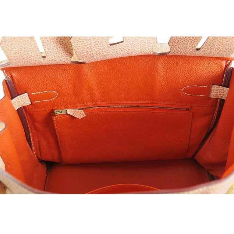 Women's or Men's Hermes Birkin 30 Orange Dalmatian Buffalo Leather Gold Hardware Bag  For Sale