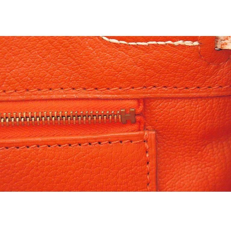 Hermes Birkin 30 Orange Dalmatian Buffalo Leather Gold Hardware Bag  For Sale 2