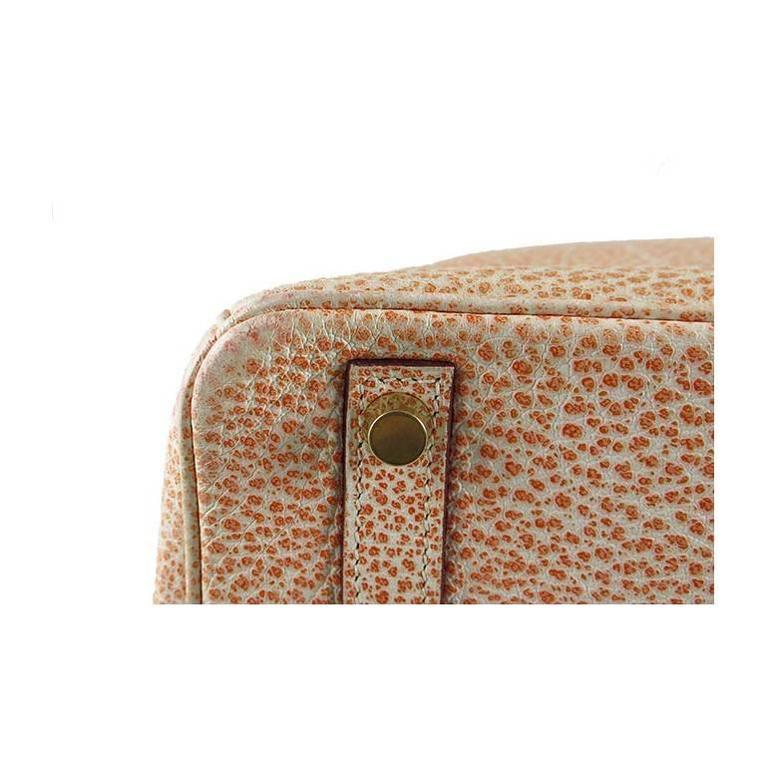 Hermes Birkin 30 Orange Dalmatian Buffalo Leather Gold Hardware Bag  For Sale 3
