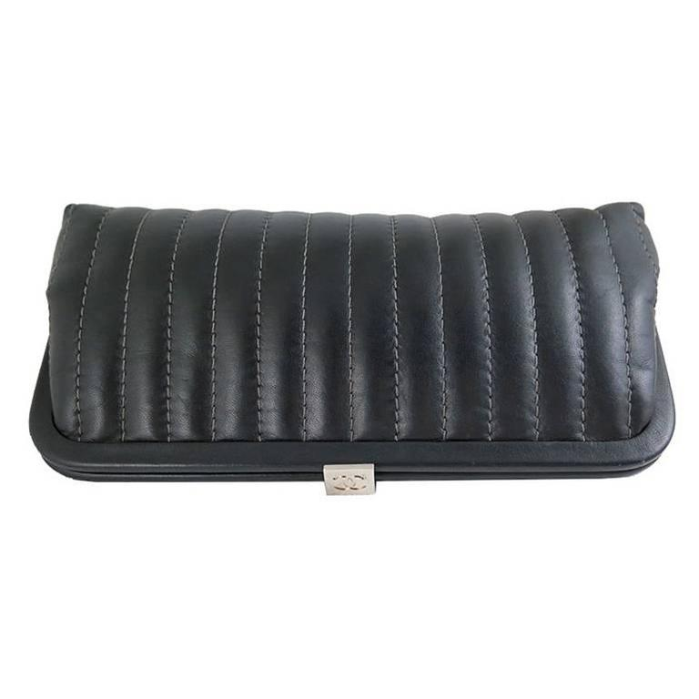 Chanel Black Lambskin Mademoiselle Evening Clutch Purse In Excellent Condition For Sale In Singapore, SG