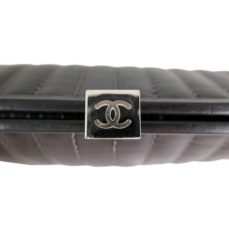 Chanel Black Lambskin Mademoiselle Evening Clutch Purse 4