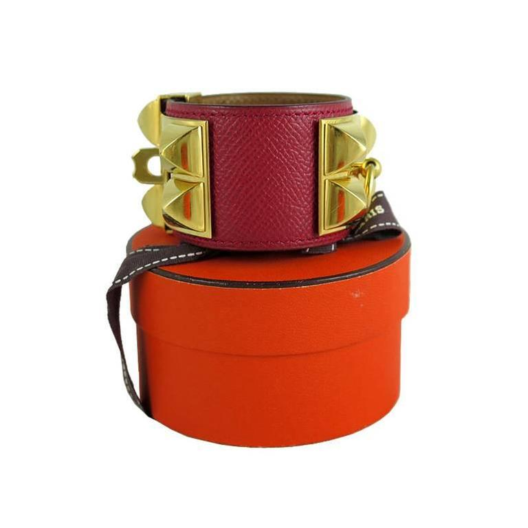 Hermes Red Cdc Collier De Chien Leather Gold Hardware Bracelet 2