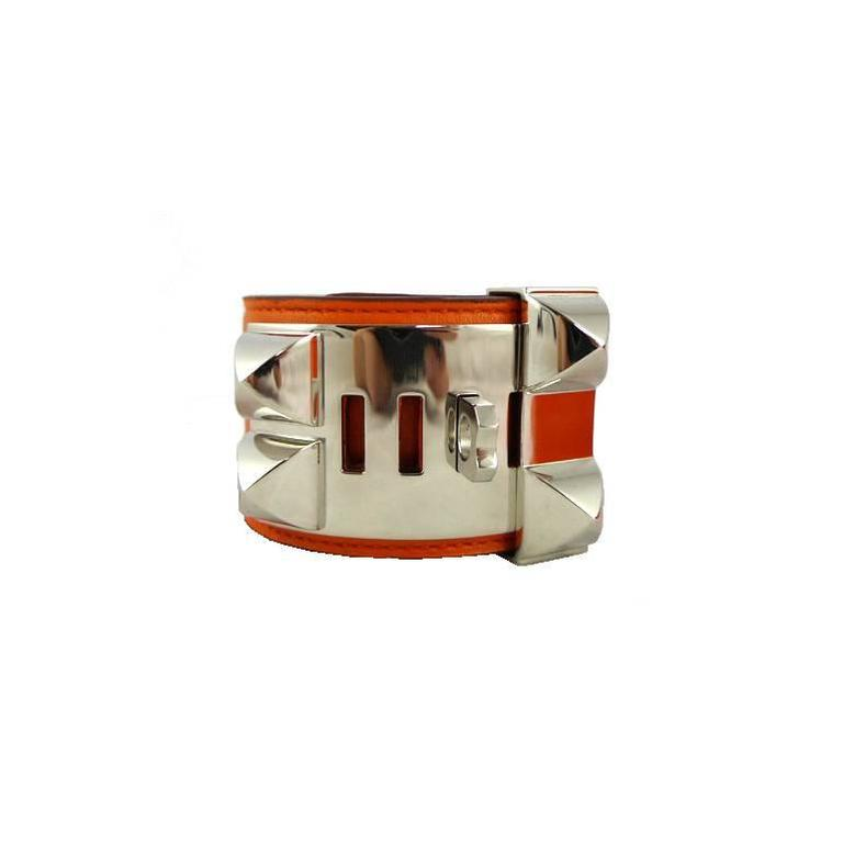 Hermes Cdc Collier De Chien Orange Swift Palladium Bracelet 2
