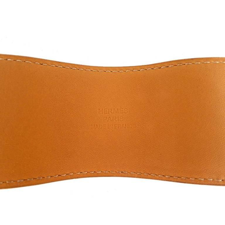 Hermes Cdc Collier De Chien Orange Swift Palladium Bracelet 3