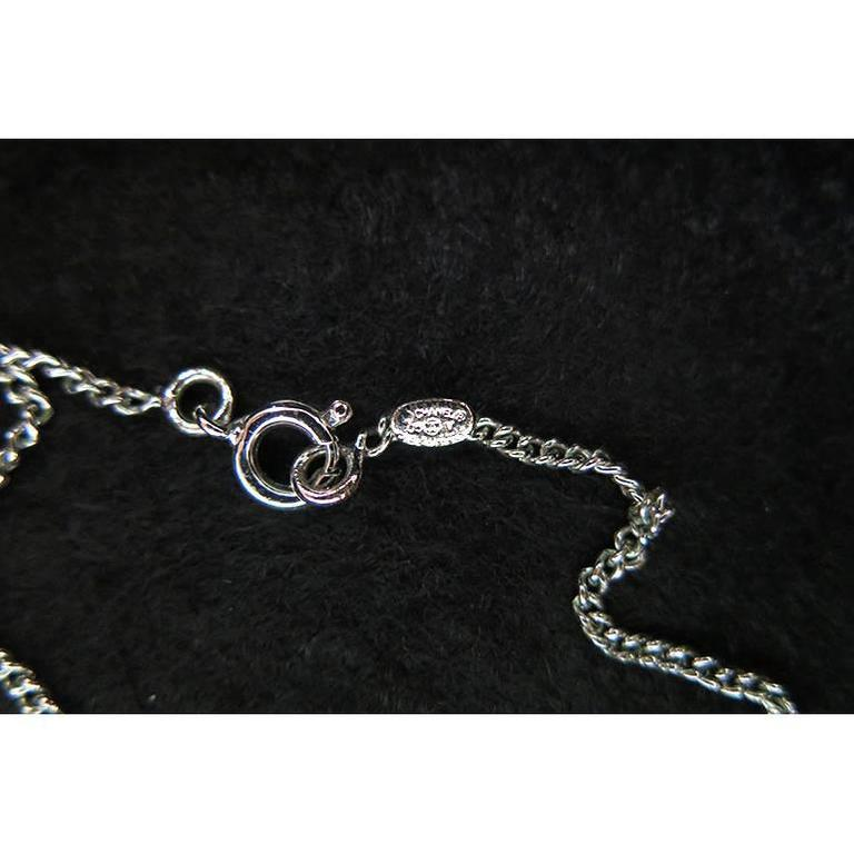 Chanel Black CC Pendant Silver Chain Necklace In As New Condition For Sale In Singapore, SG