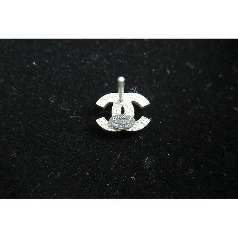 Chanel Silver CC Swarovski Crystal Stud Errings 3