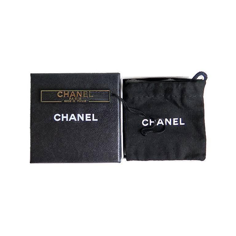 Women's Chanel Silver CC Swarovski Crystal Stud Errings For Sale
