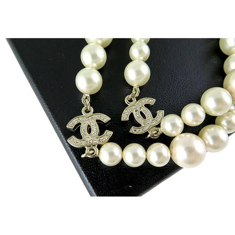 Chanel Swarovski CC White Pearl Long Classic Necklace 2