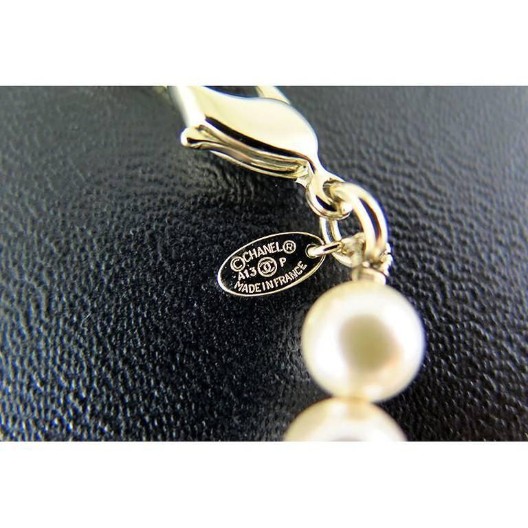 Chanel Swarovski CC White Pearl Long Classic Necklace 3