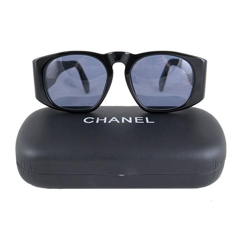 Chanel Black Matelasse Gold CC Sunglasses 2