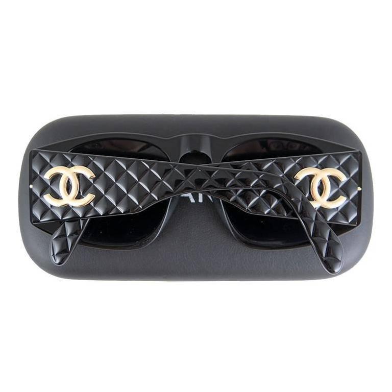 Chanel Black Matelasse Gold CC Sunglasses 3