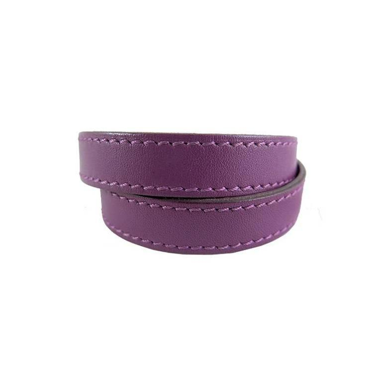 Hermes Purple Kelly Double Tour KDT Unisex Bracelet Bangle 2