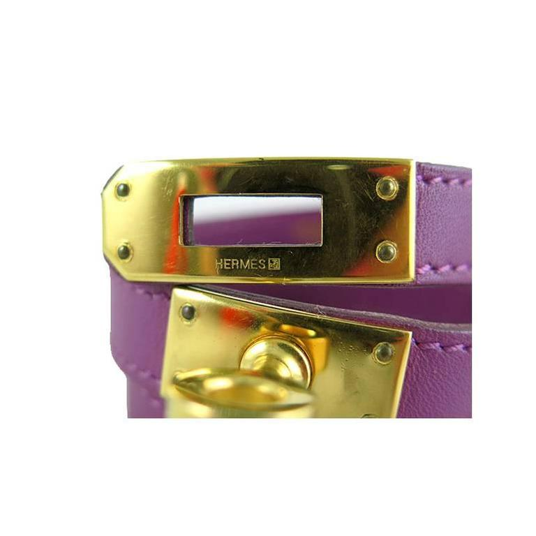 Hermes Purple Kelly Double Tour KDT Unisex Bracelet Bangle 3