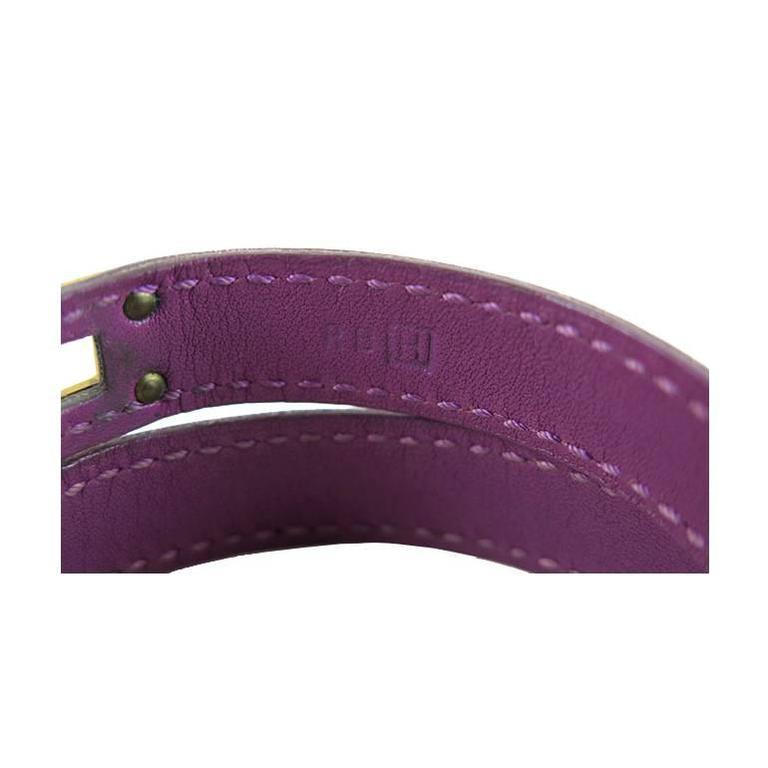 Hermes Purple Kelly Double Tour KDT Unisex Bracelet Bangle 5