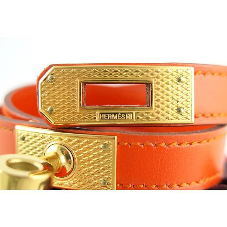 Hermes Orange Guilloche KDT Kelly Double Tour Bracelet Bangle - Rare 3