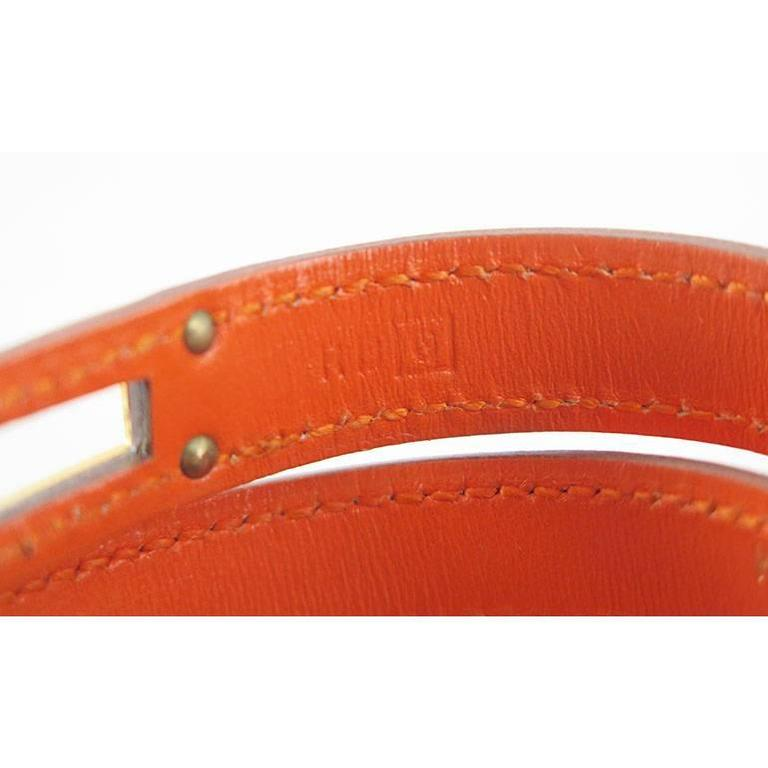Hermes Orange Guilloche KDT Kelly Double Tour Bracelet Bangle - Rare 4