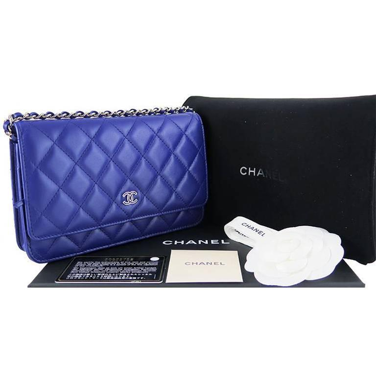 Chanel WOC Purple Blue Lambskin Classic CC 3way Wallet On Chain 2