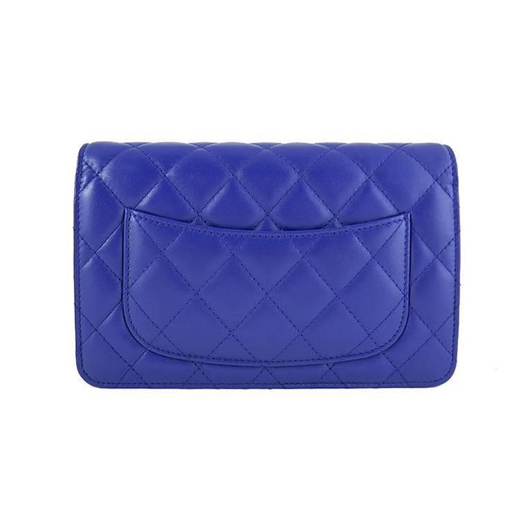 Chanel WOC Purple Blue Lambskin Classic CC 3way Wallet On Chain 3