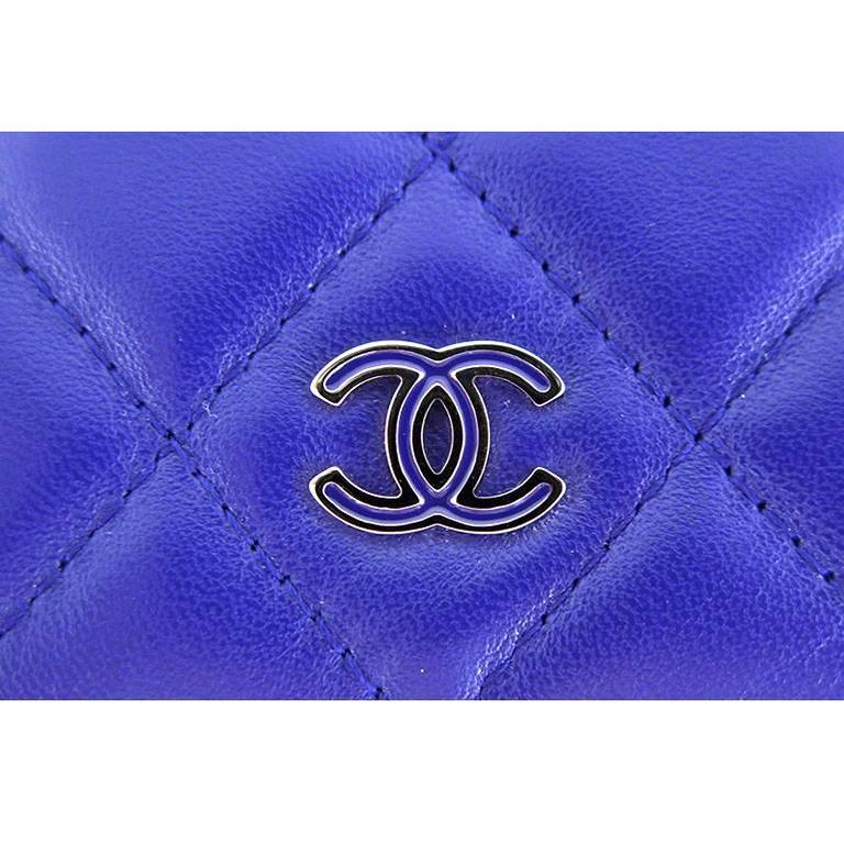 Chanel WOC Purple Blue Lambskin Classic CC 3way Wallet On Chain 4