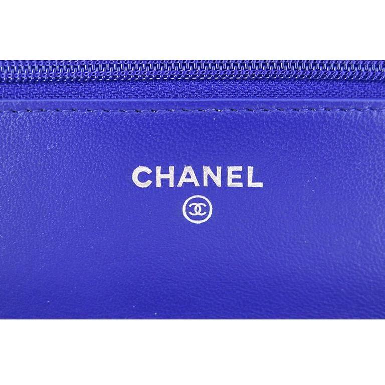 Chanel WOC Purple Blue Lambskin Classic CC 3way Wallet On Chain 7