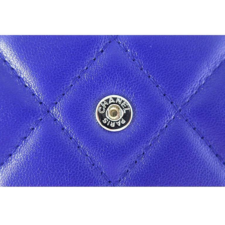 Chanel WOC Purple Blue Lambskin Classic CC 3way Wallet On Chain 5