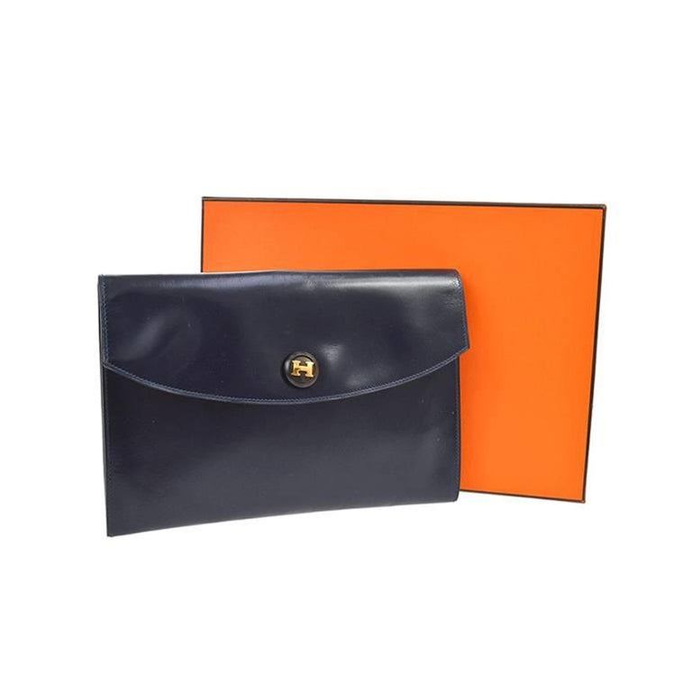 Hermes Pochette Navy Blue Rio Vintage Clutch Evening Purse