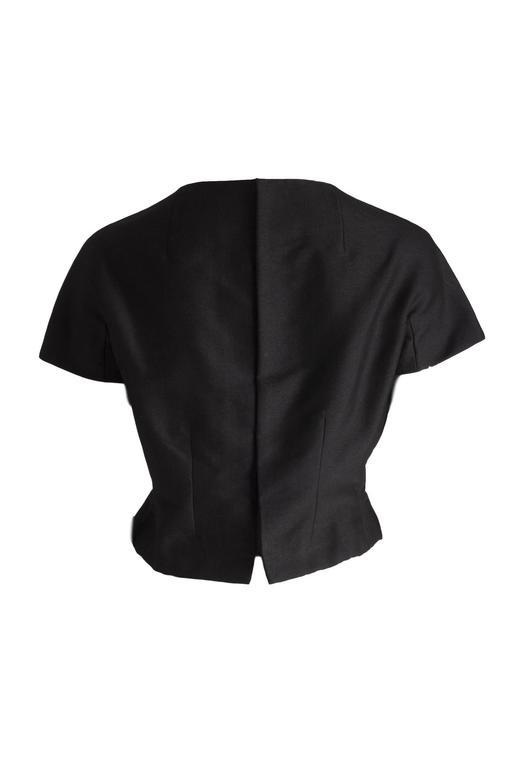 Christian Dior 1959 Black Haute Couture Yves Saint Laurent Black Wool Top 10 2