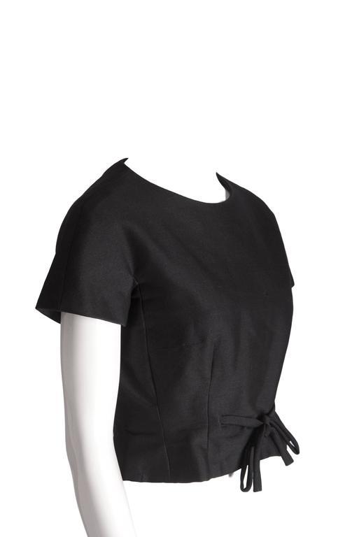 Christian Dior 1959 Black Haute Couture Yves Saint Laurent Black Wool Top 10 3