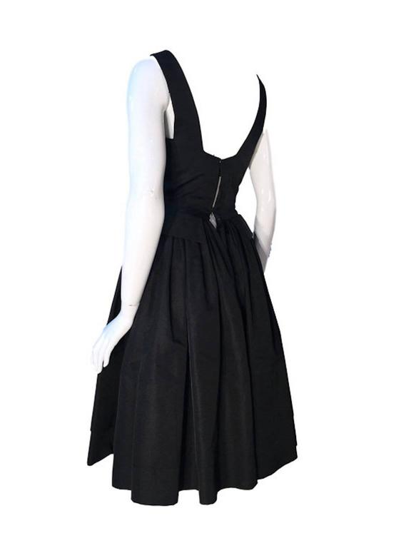 Vintage William Travilla black Woven Silk 1950s Couture Fit & Flare Cocktail Dre 2