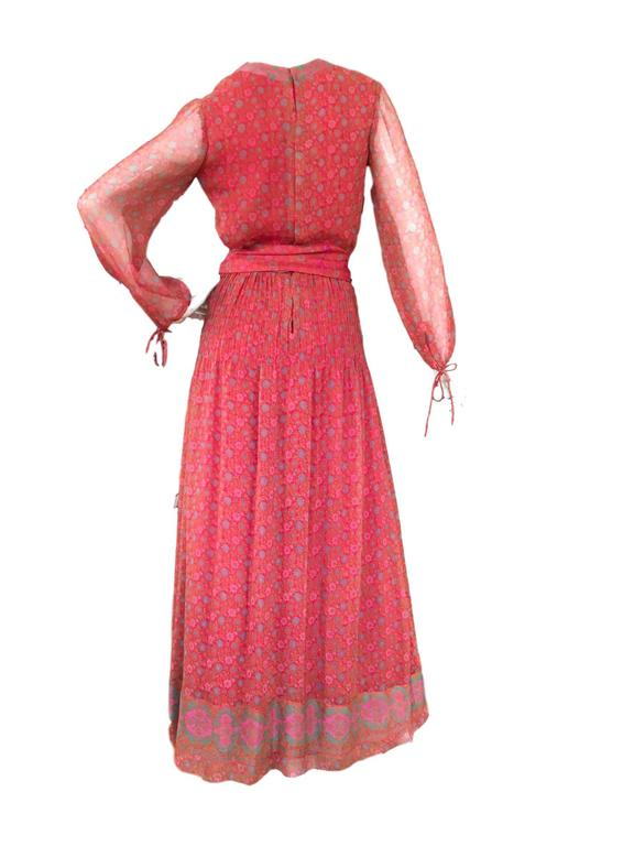 1970s Vintage Silk Indian Made Hardy Amies Maxi Dress  2