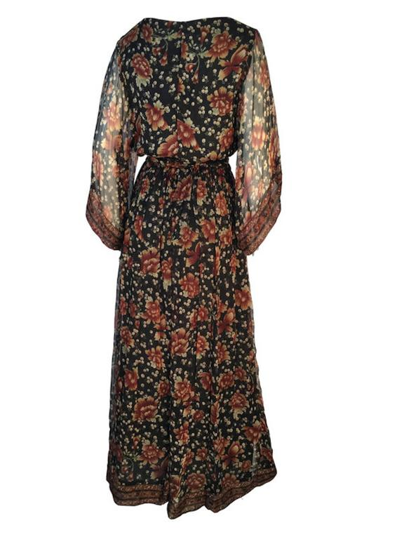 Vintage 1970s Treacy Lowe Indian Silk Chiffon Wide Sleeve Maxi Dress With Belt  3