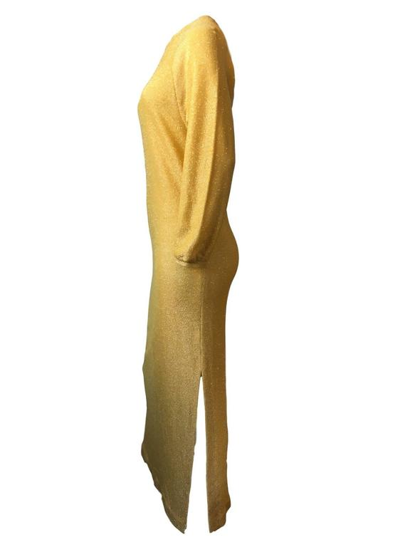 Bill blass Vintage 1970s Metallic Gold Maxi Ribbed Knit Dress  3