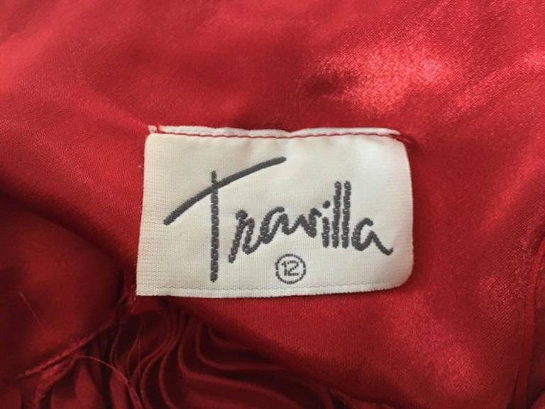 Vintage William Travilla Red Plunging Halter Pleated Dress  2