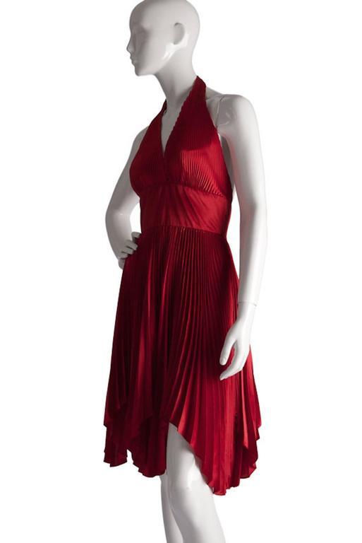 Vintage William Travilla Red Plunging Halter Pleated Dress  3