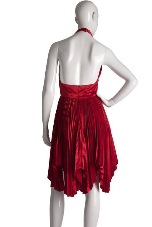 Vintage William Travilla Red Plunging Halter Pleated Dress  4