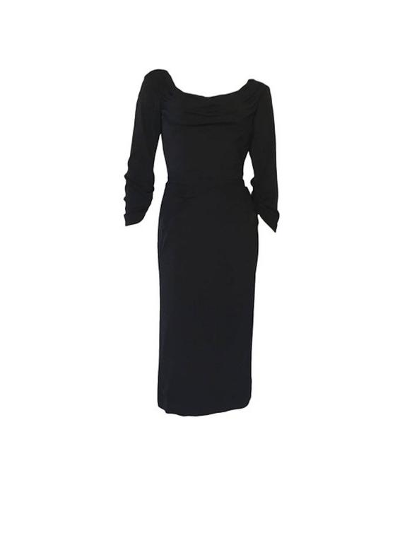 Vintage 1950s Ceil Chapman Black Gathered Fitted Dress  2