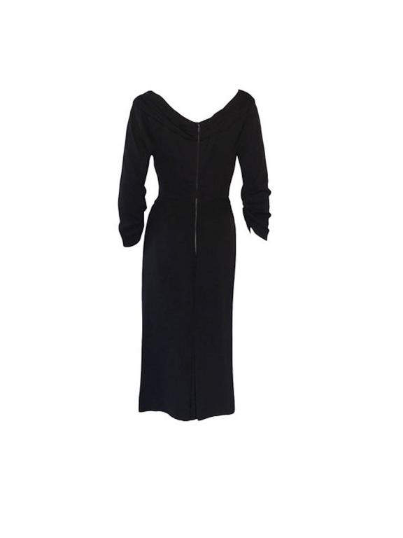 Vintage 1950s Ceil Chapman Black Gathered Fitted Dress  3