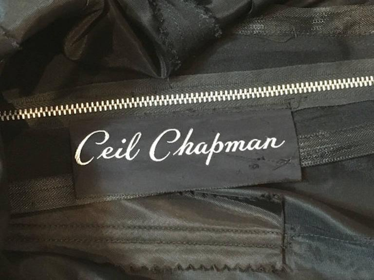Vintage 1950s Ceil Chapman Black Gathered Fitted Dress  4