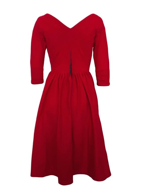 Vintage Late 1950s Early 1960s Red Jersey Fit And Flare