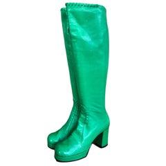 Vintage Bright Green Leather 1960s Platform Boots